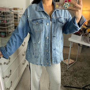 Blue wash ripped oversized jean jacket